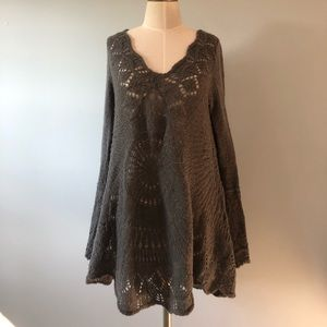 Free People Charcoal Gray Knit Sweater Tunic